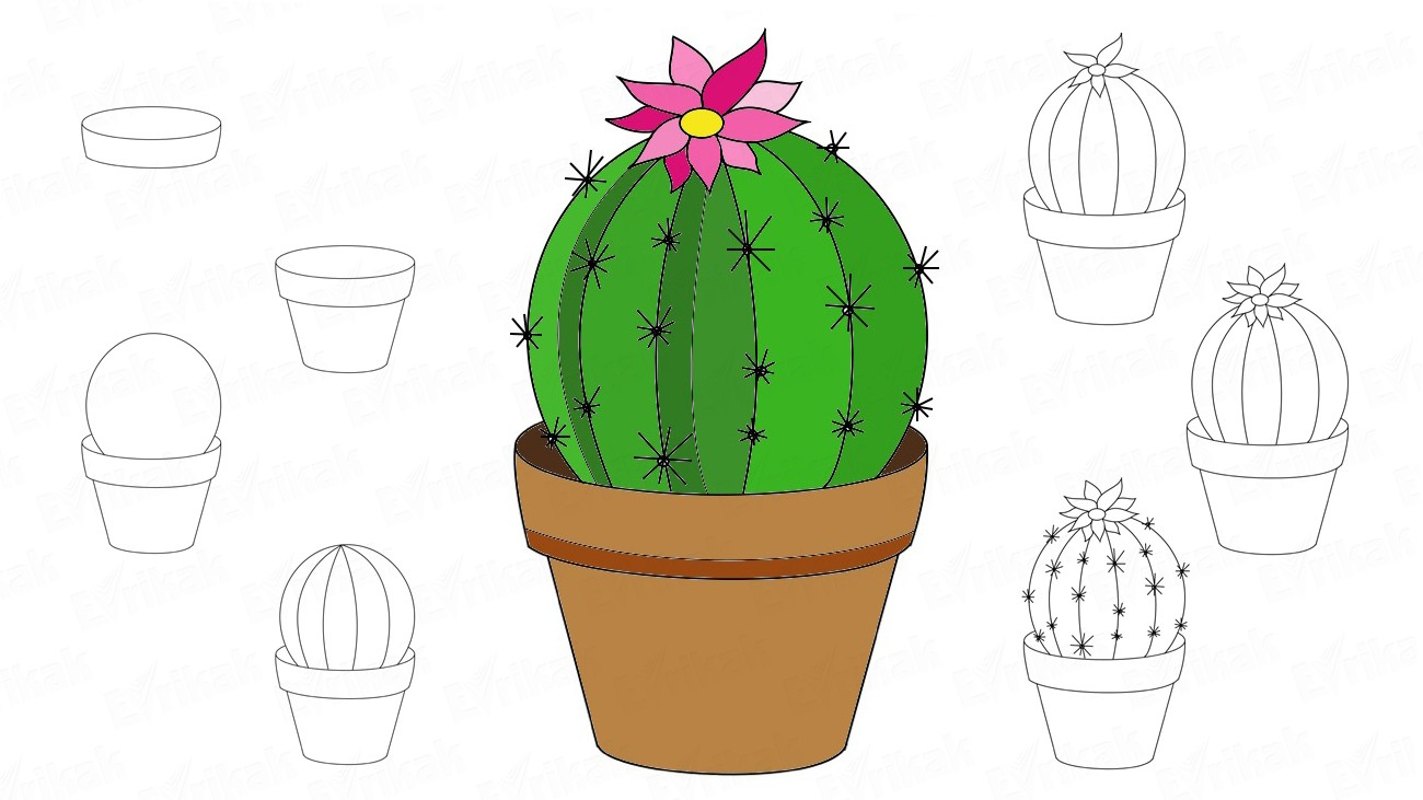 How to draw a cactus: different images, in stages